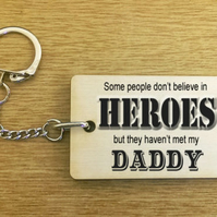 Personalised Heroes Wood Key Ring Daddy Dad Uncle Grandad Fathers Day Gift