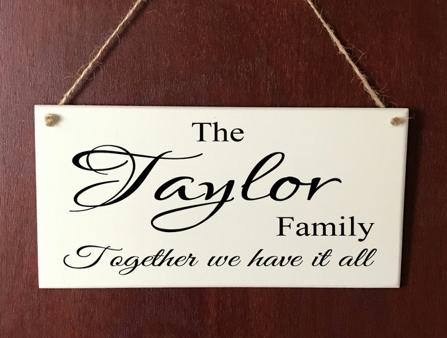 Beautiful Handmade Personalised DELUXE Plaque Family Surname Gift Sign Present