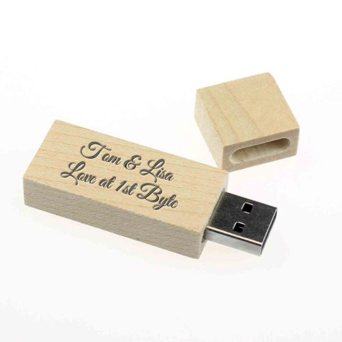 Personalised Wood 8GB USB Pen Drive Flash Memory Stick Mum Dad Gift Present Love