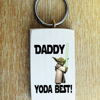 Personalised Yoda Star Wars Wood Key Ring Daddy Dad Uncle Grandad Gift Present
