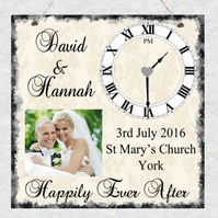 Personalised Wedding Anniversary PHOTO Plaque Bride Marriage Chic Gift Present