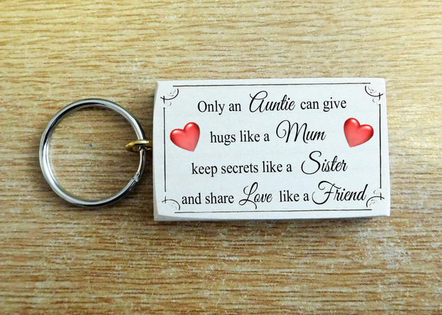 Beautiful Wood Auntie Sister Love Mum Friend Key Ring Chic Gift Present Keys