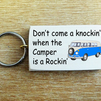 Hand Made Wood Key Ring Sign ' Camper Van is a Rockin' ' Present Gift VW Keys