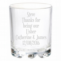 Personalised Engraved Usher Wedding Glass Gifts Any Name