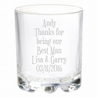 Personalised Engraved Best Man Wedding Glass Gifts Any Name