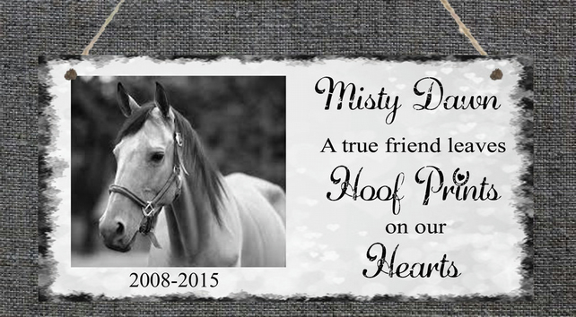 Personalised Photo Plaque Pet Horse Pony Memorial Home Gift Present