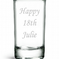 Personalised Shot Glass, Birthday Gift, 18th 19th 20th 21st 22nd 23rd 24th 25th