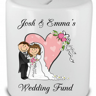Personalised Wedding Fund Savings bank Money Box Gift Engagement Present Idea
