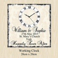 Personalised Wedding Day Clock Present Chic Gift Bride Groom Anniversary