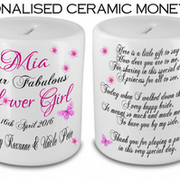 Personalised Ceramic Money Box Thank you Wedding Favour Flower Girl Present Gift