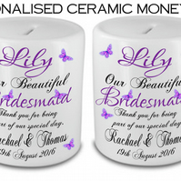 Personalised Ceramic Money Box Thank you Wedding Favour BRIDESMAID Present Gift