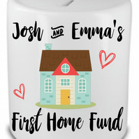 Personalised Ceramic Money Box First Home Fund Wedding Engagement Anniversary