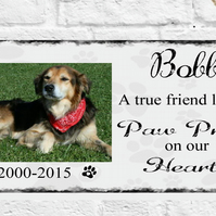 Personalised Photo Pets Plaque Pet Dog Cat Memorial Home Pawprints Gift Present