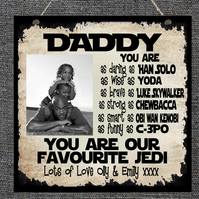 Personalised Star Wars PHOTO Plaque Daddy Dad Stepdad Grandad Father's Day Gift