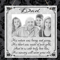 Personalised Photo Plaque Dad Grandad Mum Nanna Remembrance Mother's Day Gift