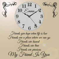 Beautiful Personalised Best Friends Clock Present Chic Gift Best Friend Home