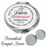 Personalised Mirror Compact Wedding Favour Bridesmaid Thank you Gift Present