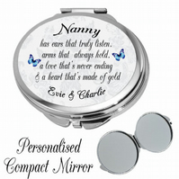 Personalised Mirror Compact Nanny Sister Friend Mum Daughter Auntie Gift Present