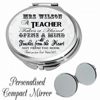 Personalised Mirror Compact Teacher Teaching Assistant Thank you Gift Present