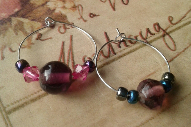 Pink glass wine charms