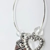 Love letter wine glass charm