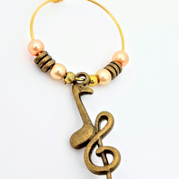 Music lover's wine glass charm