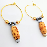 Boho wooden droplet wine glass charms