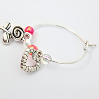 Flower and heart wine glass charm