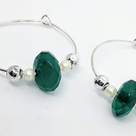 Green button wine glass charms