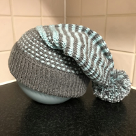 Hand Knitted Grey and Blue Slouchy Bobble Hat