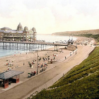 Professionally restored victorian era photochrome scenic print - Colwyn bay  ,