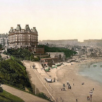 victorian print , The grand hotel , Scarborough c1900's , North Yorkshire
