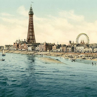 Victorian era , photochrome  print - Blackpool seafront & tower