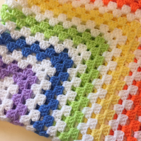 Rainbow and white baby blanket
