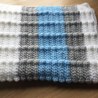 Blue, grey and white baby blanket