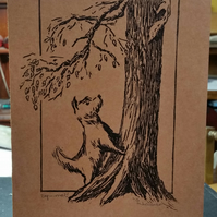 Original signed linocut card 'squirrel!'