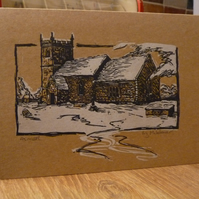 Original linocut christmas card, Almer Church in the snow, hand printed & signed