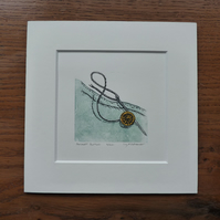 "Original limited edition multi plate linocut with Chine Colle ""Dorset Button"""