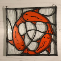 Chasing Tails - Stained glass fish suncatcher panel