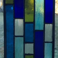 Blues - Stained Glass Suncatcher Panel In Shades Of Blue, Green And Clear