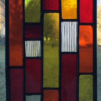 Reds - Stained Glass Suncatcher Panel In Shades Of Red, Orange, Yellow And Clear