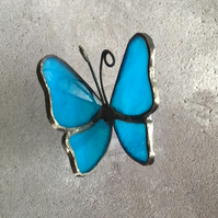 Stained Glass Butterfly - Turquoise Blue