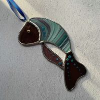 Stained Glass Turquoise And Lilac Fish