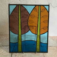 Stained Glass Panel - Two Trees