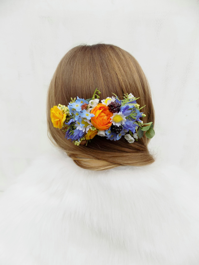 Bright flower hair comb Spring Summer wedding bridal hair accessories slide boho