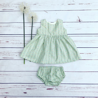 Baby dress with nappy cover handmade in pretty poplin