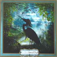Luxury handmade card - Silhouette of a stork
