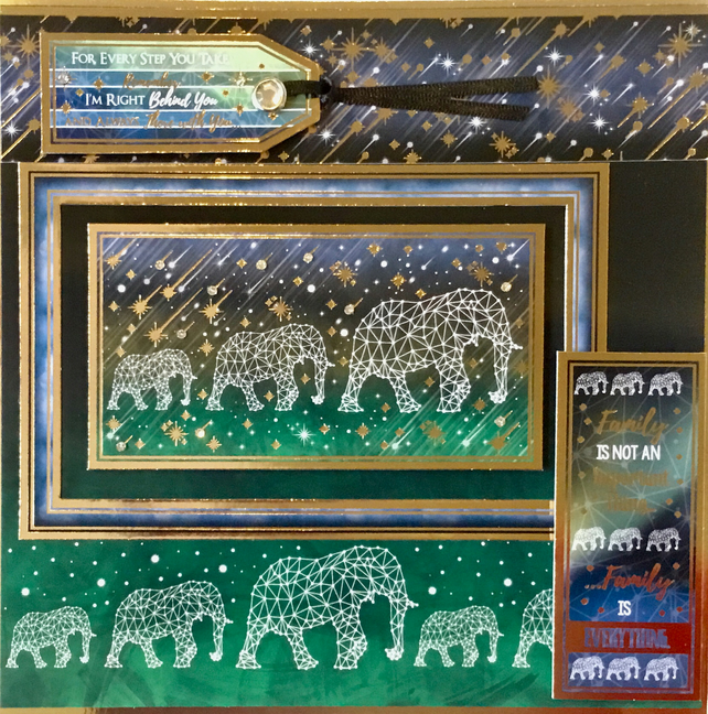 Luxury handmade card - constellation elephant family