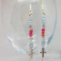 Red and grey beads with crucifix charm dangle earrings