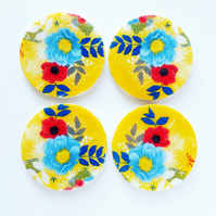 Yellow floral coaster Set, round marble coasters, marble coaster Set